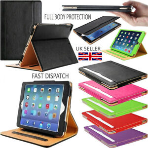 """Genuine Leather Smart Stand FlipBook Case Cover For Apple iPad 5&6, Air 1&2 9.7"""""""