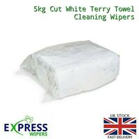 PREMIUM QUALITY 5kg White Terry Towelling Cleaning Rags / Wipers / Cloths