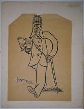 Dessin Original MAXIMILIEN VOX Portrait Paul Morand Usage de Faux CARAN D'ACHE