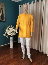 "40"" M Sherwani Suit Indian Bollywood Mens Kurtha Mango Yellow Outfit Kurta KS25"