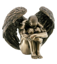 Nude Winged Male Angel Holding Knees Statue Sculpture Bronze - Gift Boxed