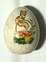 Vintage Decorative Ceramic Egg ~ Squirrel Easter Basket