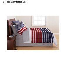 New Blue Red Grey 8 Piece Full Size Comforter Set Bedding Bedspread Sheet Skirt