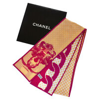 Authentic CHANEL CC Long Scarf Handkerchief 100% Silk Pink Accessory 04MD180