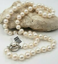 """Akoya Cultured Slightly Rose  Pearl Collar/Neckalace 17""""L 14Kt White Gold Clasp"""