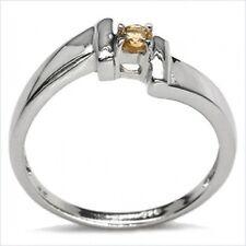 Klassischer Citrin-Ring-925/Silber-Rhodiniert Brilliantschliff 0,10 Karat