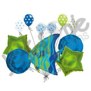 11pc Blue & Green Angel Fish Happy Birthday Balloon Bouquet Decoration Ocean Sea