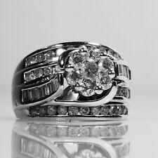 14K WHITE GOLD BAGUETTE ROUND DIAMOND RING SIZE 5.5 - 11.16 GRAMM