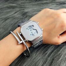 NEW Men Women Bear Watch Stainless Steel LED Digital Cute Luxury Wristwatch