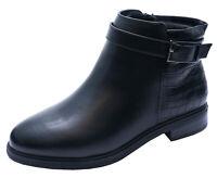 LADIES BLACK EXTRA WIDE FIT EEE EX-EVANS CHELSEA ANKLE BIKER BOOTS SHOES UK 4-10