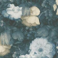 Blue Romatic Dutch Floral Watercolour Effect Wallpaper - 10m Roll