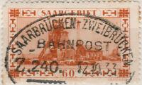 SARRE / SAAR / SAARGEBIET - 1933 SAARBRÜCKEN-ZWEIBRÜCKEN Zug.240 auf Mi.143