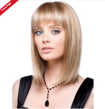 Fashion Straight Short Natural Brown Mix Blonde Women's Lady Cosplay Hair Wig