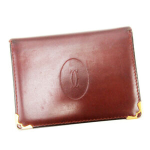 Auth Cartier Periodic Insert Must Line Bordeaux Leather Auth  T17236