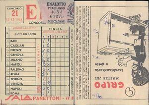 R@R@ SCHEDA ENALOTTO CONCORSO N.21 DEL 12/12/1958 VALIDATA, BELLA