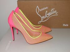 CHRISTIAN LOUBOUTIN PIGALLE FOLLIES PINK LACE RAPHIA POINT TOE PUMPS SIZE 35.5