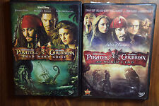 2 DVD Lot Walt Disney Pirates Of The Caribbean At World's End & Dead Man's Chest
