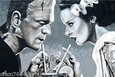 """Lowbrow AMOROUS LIBATION 12"""" x 18"""" Print by Mike Bell BRIDE FRANKENSTEIN Monster"""