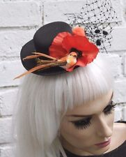 LITTLE BIRD MINI TOP HAT WIDOW GOTHIC HALLOWEEN GOTH WICCAN WITCH FLOWER VTG