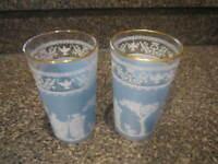 VINTAGE JEANNETTE GLASS GREEK HELLENIC BLUE & WHTE DRINKING GLASSES SET OF 2