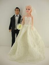 Set of 2 Ivory Wedding Gown with Veil & Bouquet Plus a Black Tux for Ken