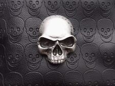 3d Skull Emblem Badge Sticker for Custom Car Motorcycle Bike Hot Rod SILVER