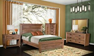 Amish Mid-Century Modern 5-Pc Bedroom Set Solid Wood Queen King Low Foot Board