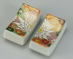 Hashioki Kutani yaki porcelain japanese chopstick rest Gold Hanatsume Pair Japan