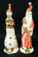 K's Collection Ceramic Santa And Snowwoman Figurines 811996 Christmas Décor