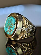 Sterling silver Navajo made shadowboxed ring w/ blue Kingman Turquoise Size 10