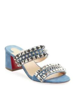 NIB LOUBOUTIN TINA GOES MAD 55 BLUE JEANS SUEDE SPIKES STUDDED MULES PUMPS 39.5