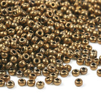 DarkGoldenrod 11/0 Electroplated Glass Seed Beads Iris Round 2x1.5mm 3300pcs/50g