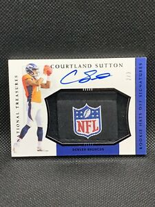 2018 National Treasures Courtland Sutton /3 Rookie Hats Off Auto NFL Shield HOT