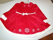 2 PC RED CHRISTMAS DRESS W/ PANTS  FAUX FUR TRIM   SIZE: 0-3 MONTHS