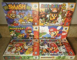 Super Smash Bros Super Mario Kart Mario Party 1 2 3 Nintendo N64 REPLACEMENT BOX