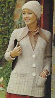 """Ladies Jacket and Hat Knitting Pattern with pockets DK 34-40"""" 753"""