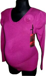 Womens Ladies Blouse Jumper Sweater Top Flower And Pearls One Size Colours New
