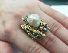 Pearl, Turquoise, & Diamond Cocktail Ring 14K Yellow Gold Size 7