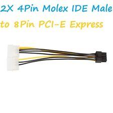 Dual Molex 4 Pines a 8 Pines PCI-E Express Conversor Adaptador Cable De Alimentación Tarjeta De Video