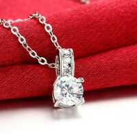 "18K White Gold Princess Crystal Pendant Necklace 18"" in Swarovski Crystal ITALY"