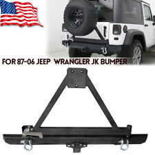 Rear Bumper With Tire Carrier+Lock+ Hitch Receiver For Jeep Wrangler TJ YJ