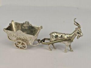 A silver miniature of a goat pulling a cart Hanau dutch silver piece hallmarked