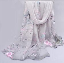 New Womens Ladies Chiffon Silk scrawl Long Soft Wrap Shawl Scarf Scarves 49sd
