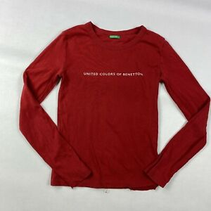 united colors of benetton vintage red long sleeve logo print t-shirt size s