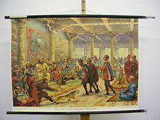 schönes Wandbild Marco Polo am Hofe des Kublai Khans 1271-95? 94x68 vintage~1955