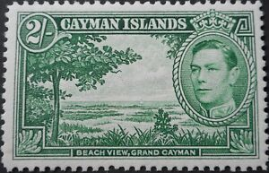 Cayman Islands 1943 GVI 2/- (Deep Green) SG 124a mint