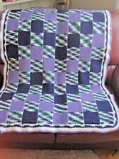 """Hand Crafted Lap Throw/cover Multi colored Acrylic 60"""" x 37"""" rounded corners"""