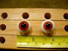 987 un par vintage esférico masivo muñeca cristal ojo alambre círculo de 17 mm