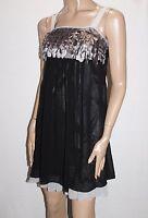 VOIR Brand Black Silver Chiffon Petal Trim Dress Size XS BNWT #SM18