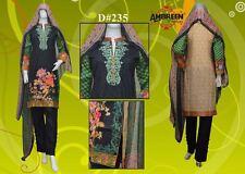 Indian/Pakistani Embroidered 3PC Lawn/Cotton Kurti/Kurta & Salwar Chiffon Dupata